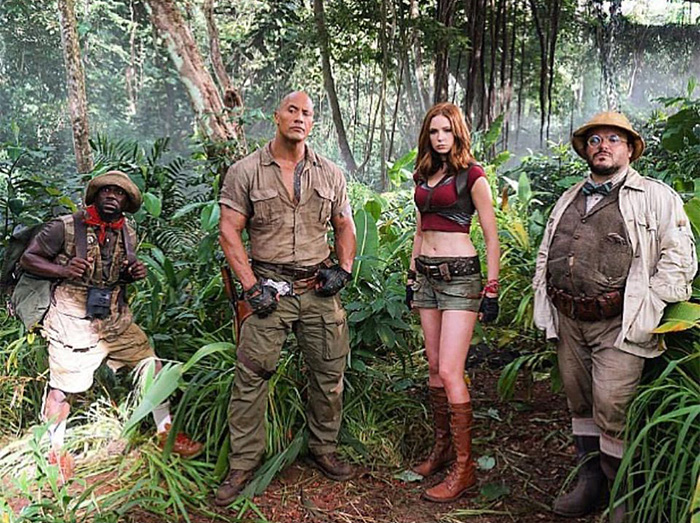 The Jumanji Cast during production